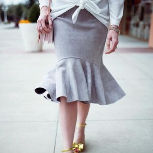 Chicwish gray suede frill hem skirt